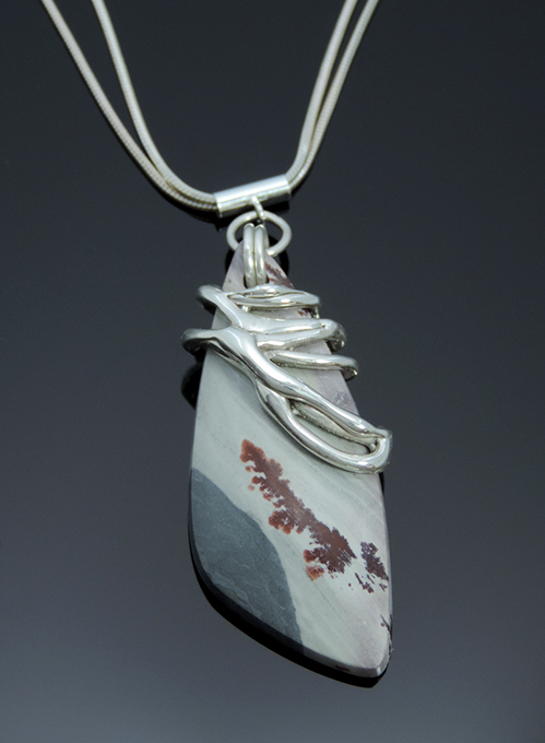Mexican Madras Sterling & Sonoran Dendritic Rhyolite necklace