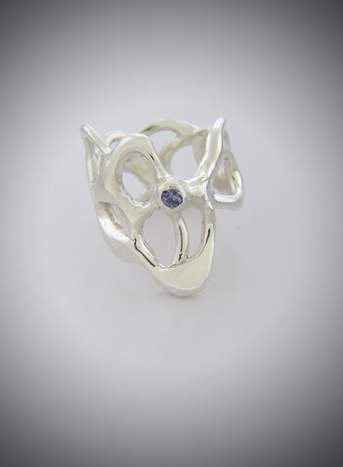 Sapphire Citrus Sterling Ring with Purple Sapphire. Size 6